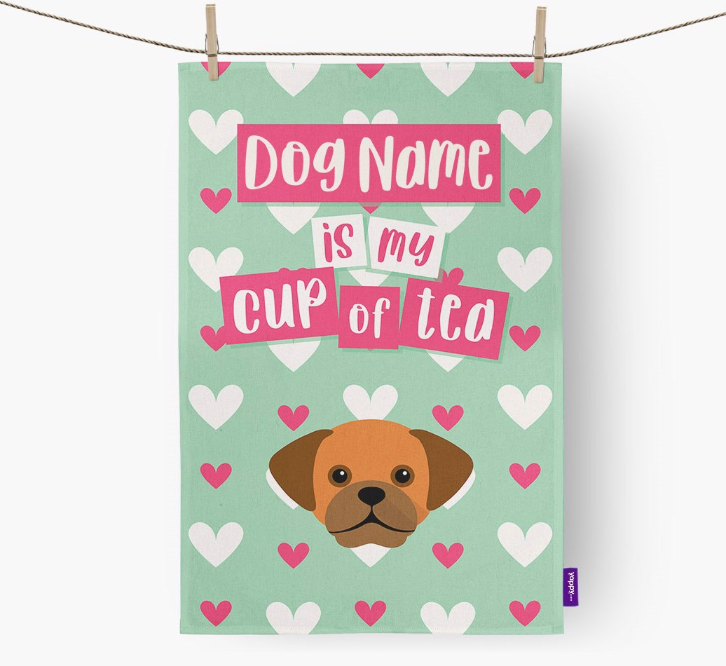 '{dogsName} Is My Cup Of Tea' Tea Towel with Puggle Icon