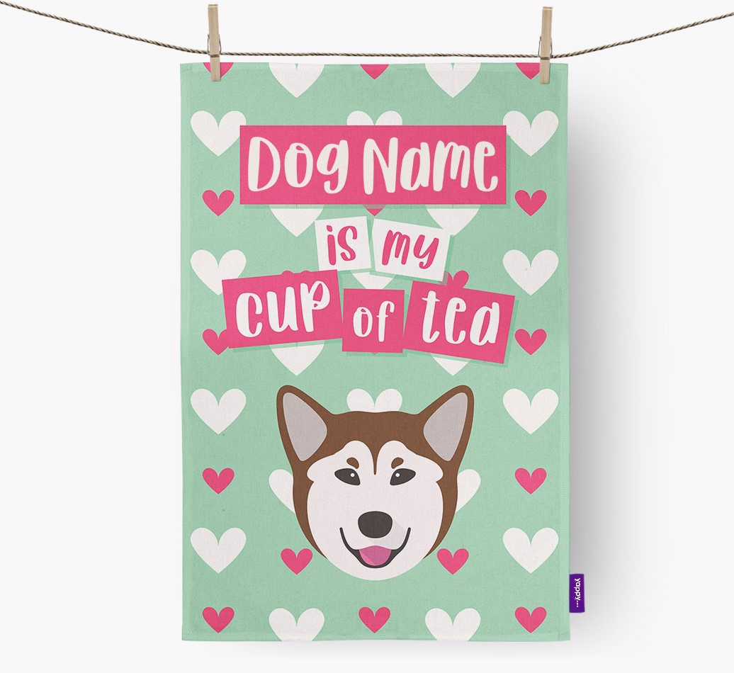 '{dogsName} Is My Cup Of Tea' Tea Towel with Rescue Dog Icon