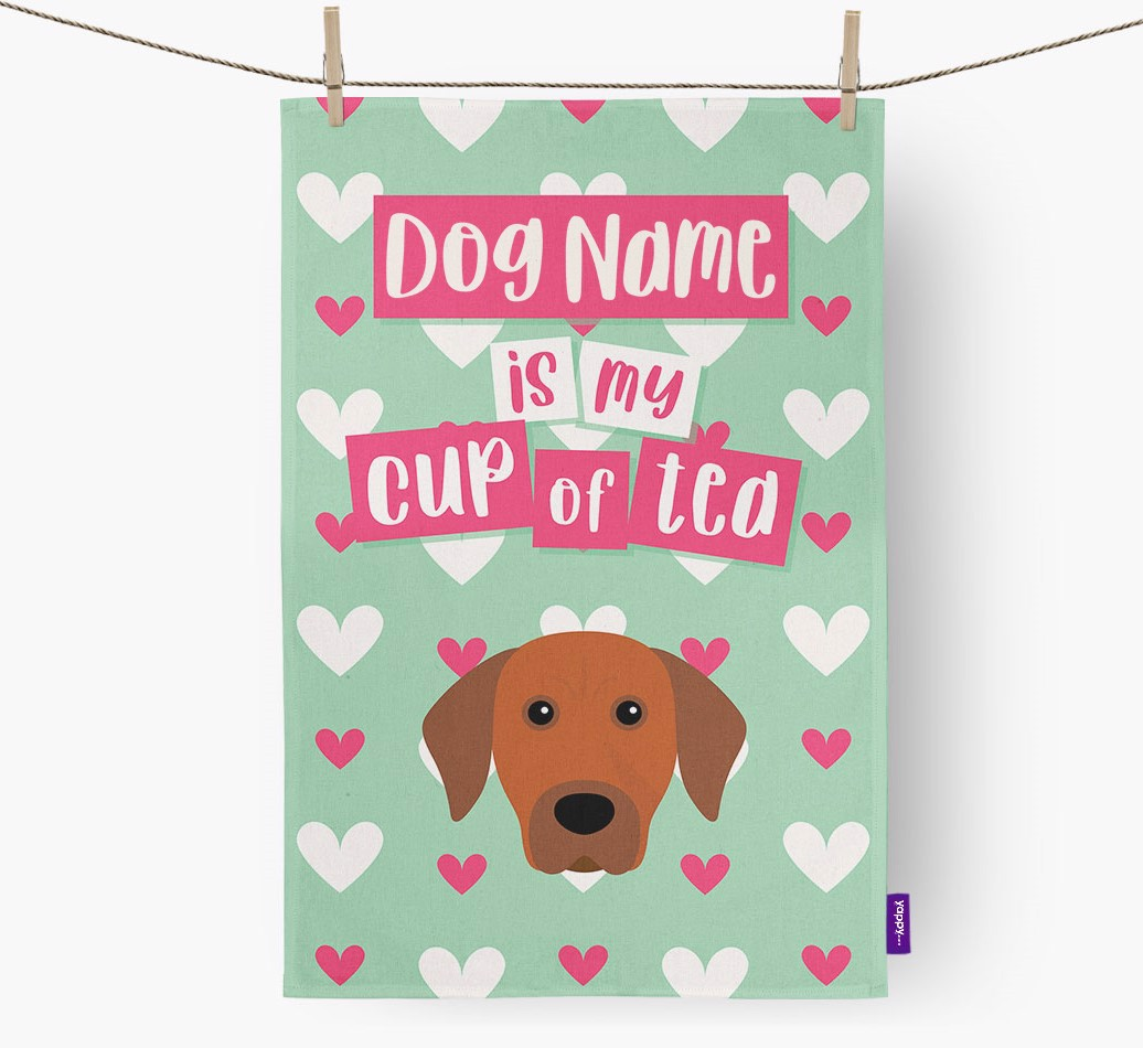 '{dogsName} Is My Cup Of Tea' Tea Towel with Rhodesian Ridgeback Icon