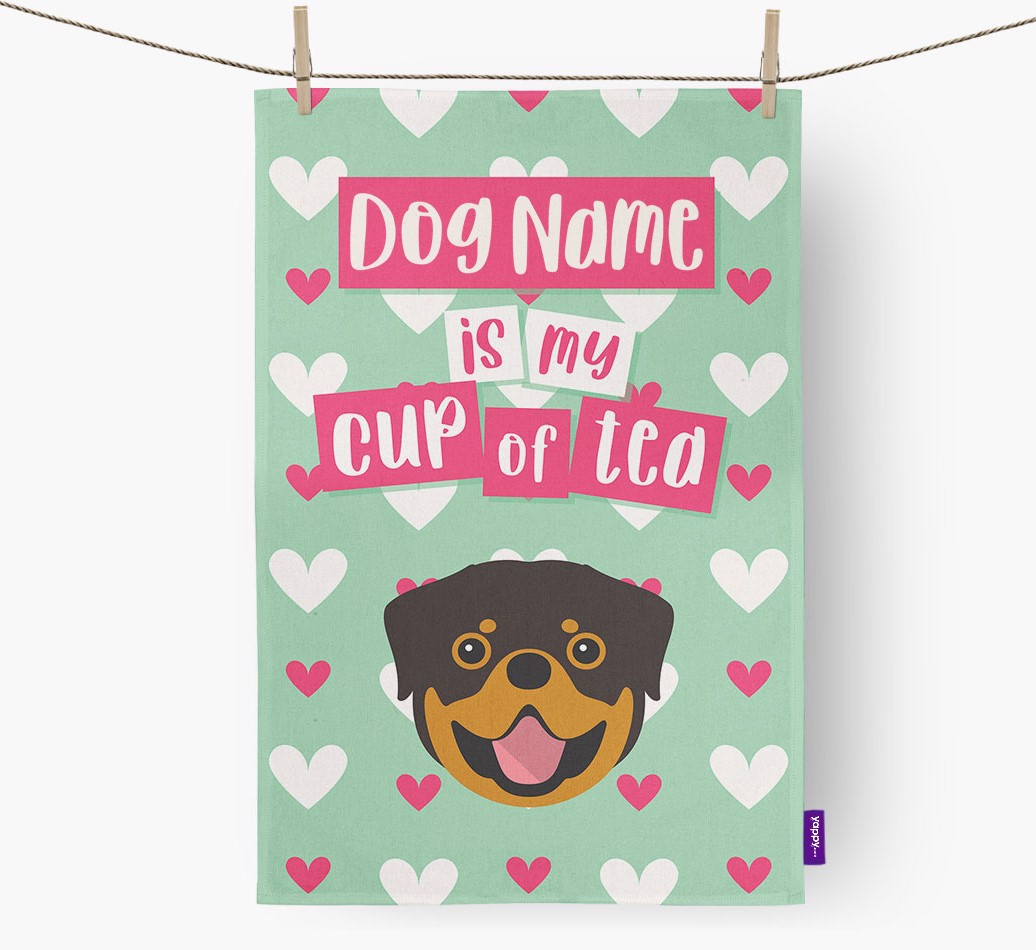 '{dogsName} Is My Cup Of Tea' Tea Towel with Rottweiler Icon