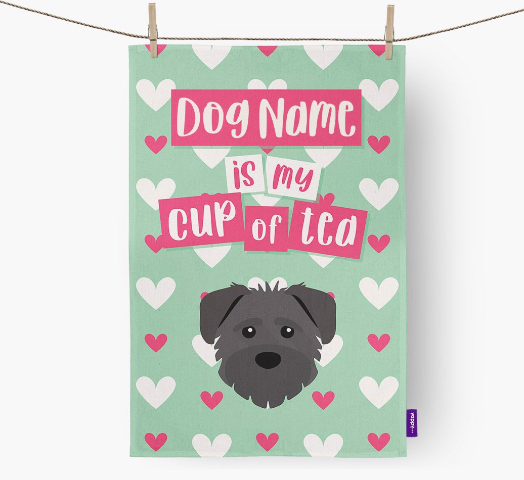 '{dogsName} Is My Cup Of Tea' Tea Towel with Schnoodle Icon
