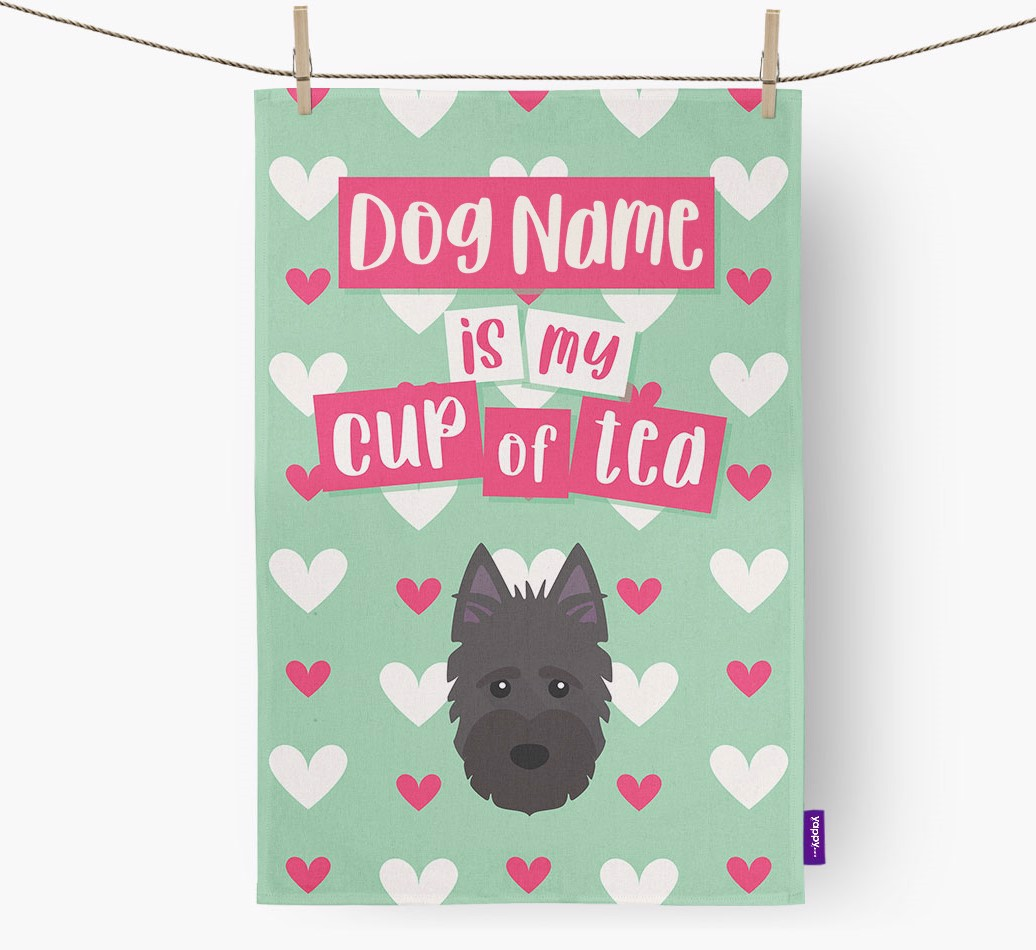 '{dogsName} Is My Cup Of Tea' Tea Towel with Scottish Terrier Icon