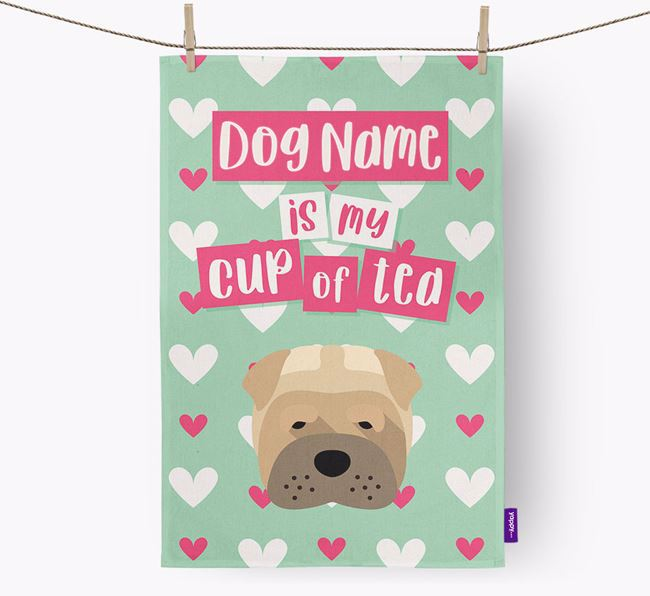 'Your Dog is my cup of tea' Dish Towel with Dog Icon
