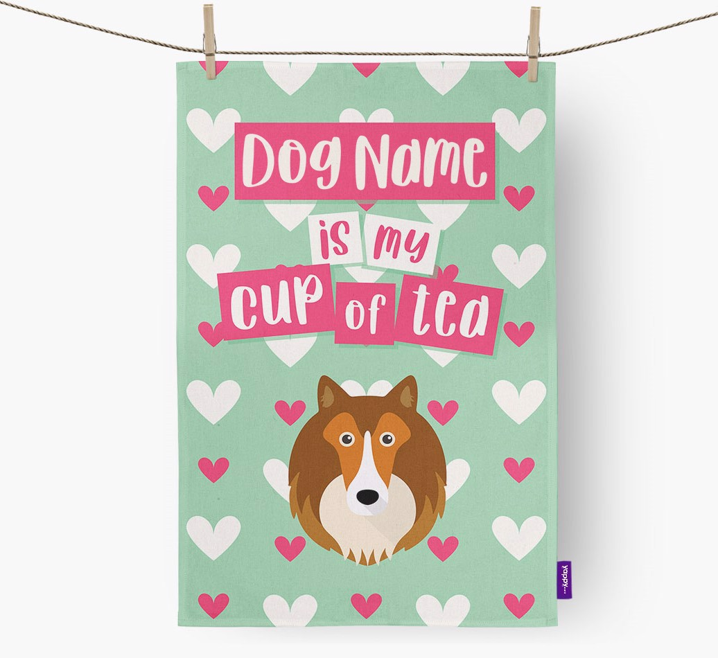 '{dogsName} Is My Cup Of Tea' Tea Towel with Shetland Sheepdog Icon