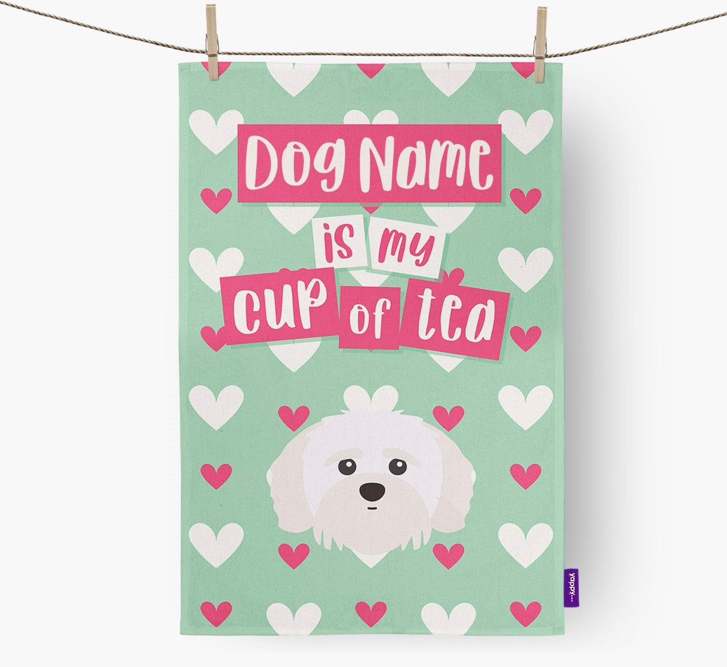'{dogsName} Is My Cup Of Tea' Tea Towel with Shih-poo Icon