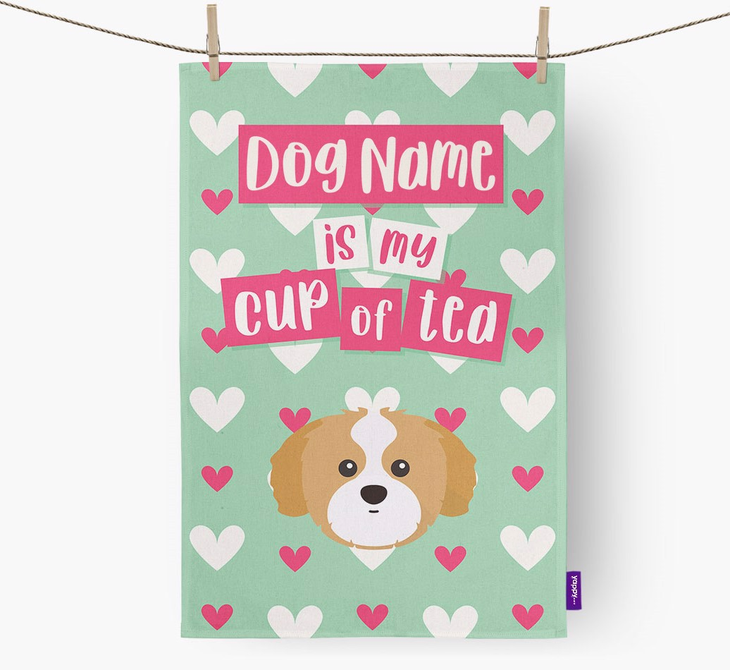 '{dogsName} Is My Cup Of Tea' Tea Towel with Shih Tzu Icon