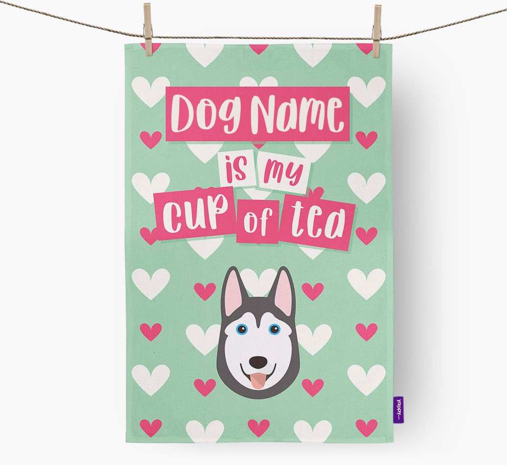 '{dogsName} Is My Cup Of Tea' Tea Towel with Siberian Husky Icon