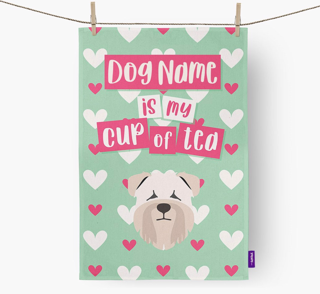 '{dogsName} Is My Cup Of Tea' Tea Towel with Soft Coated Wheaten Terrier Icon