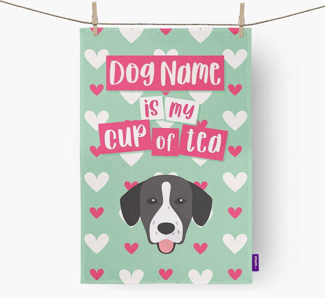 '{dogsName} Is My Cup Of Tea' Tea Towel with Springador Icon