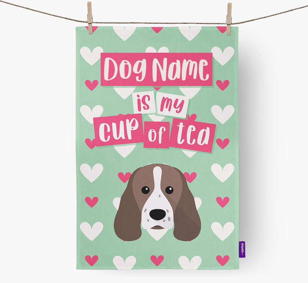 '{dogsName} Is My Cup Of Tea' Tea Towel with Sprocker Icon