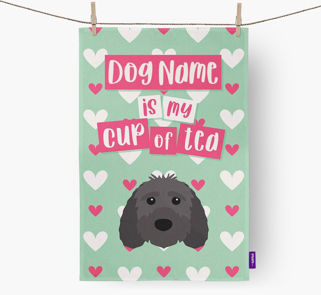 '{dogsName} Is My Cup Of Tea' Tea Towel with Sproodle Icon