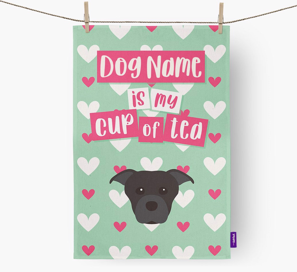 '{dogsName} Is My Cup Of Tea' Tea Towel with Staffordshire Bull Terrier Icon
