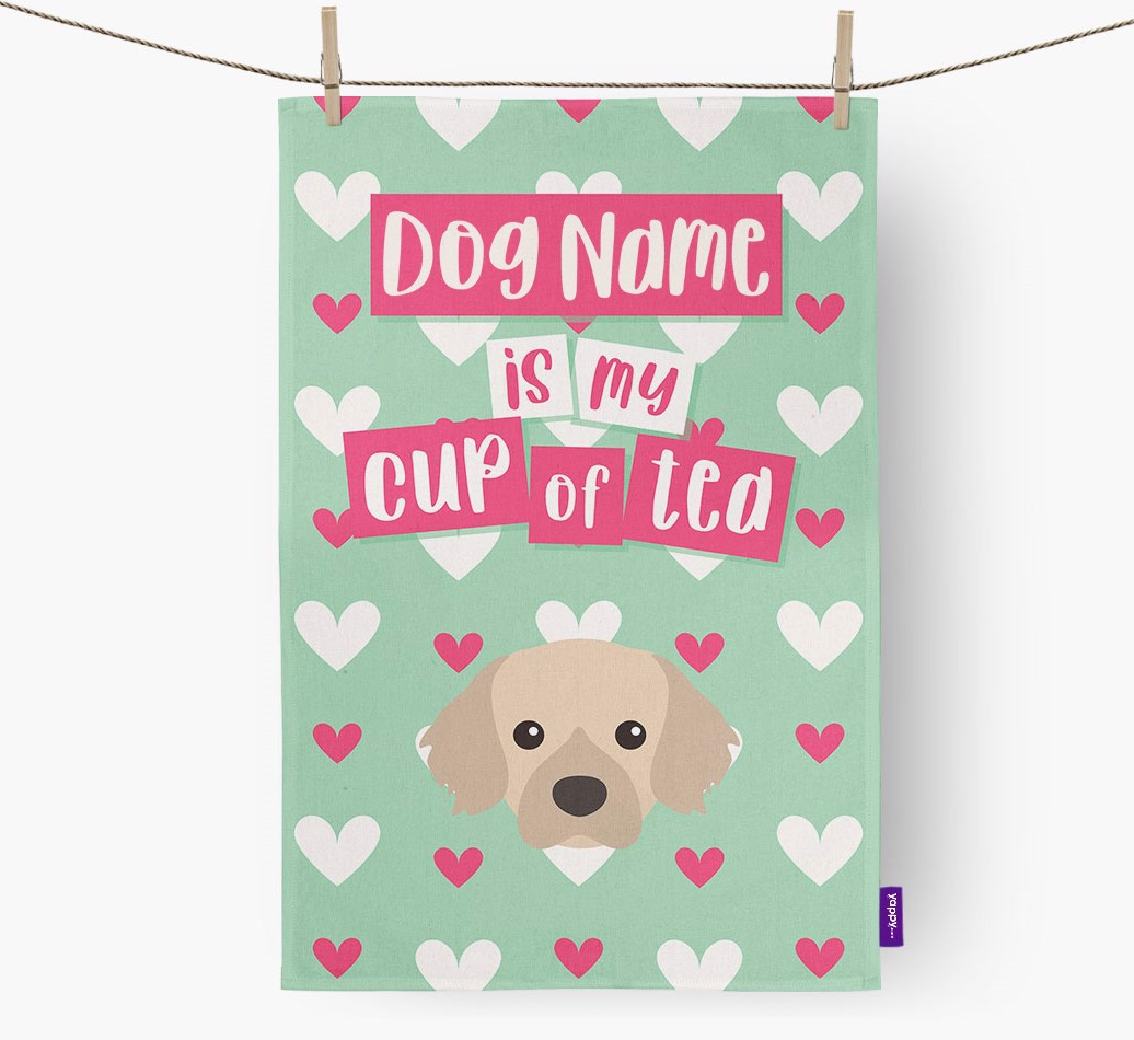 '{dogsName} Is My Cup Of Tea' Tea Towel with Tibetan Spaniel Icon