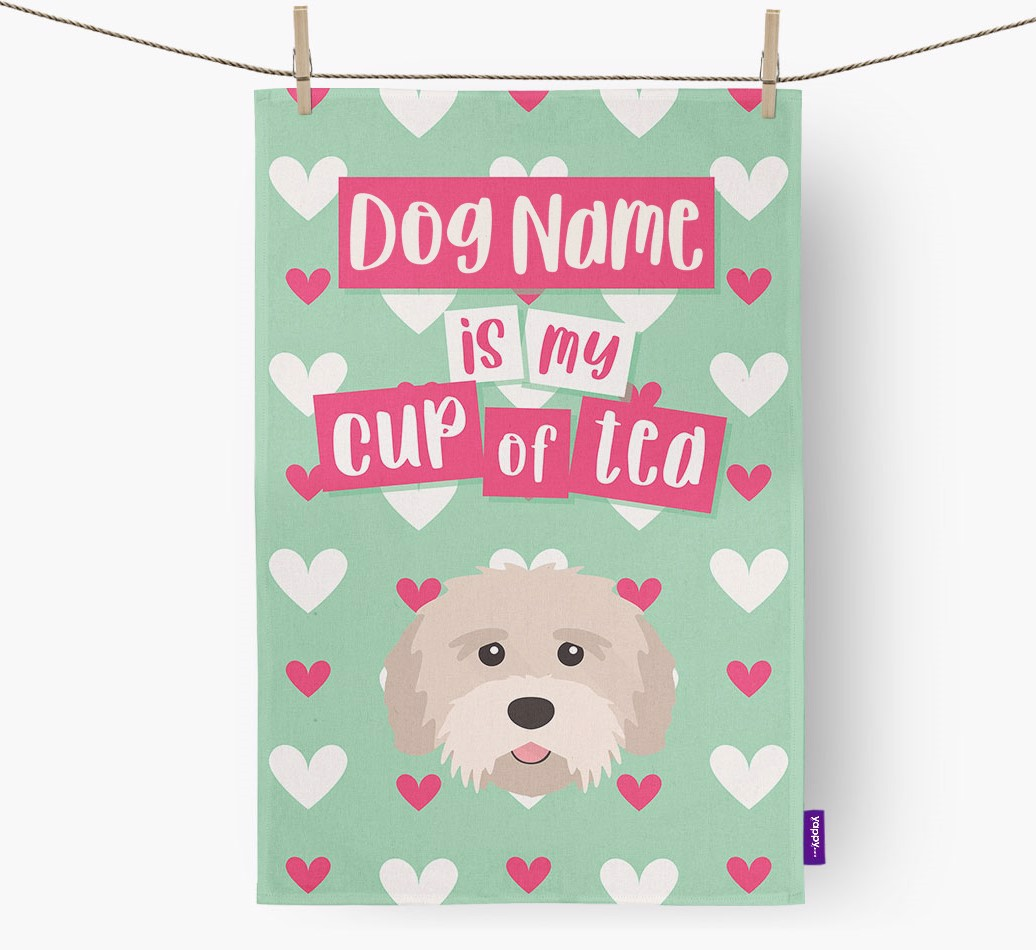 '{dogsName} Is My Cup Of Tea' Tea Towel with Tibetan Terrier Icon