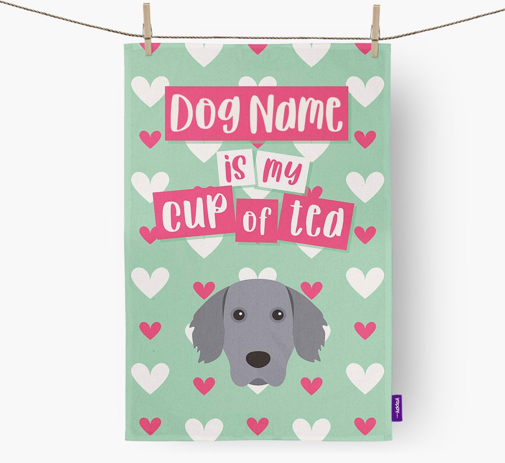'{dogsName} Is My Cup Of Tea' Tea Towel with Weimaraner Icon