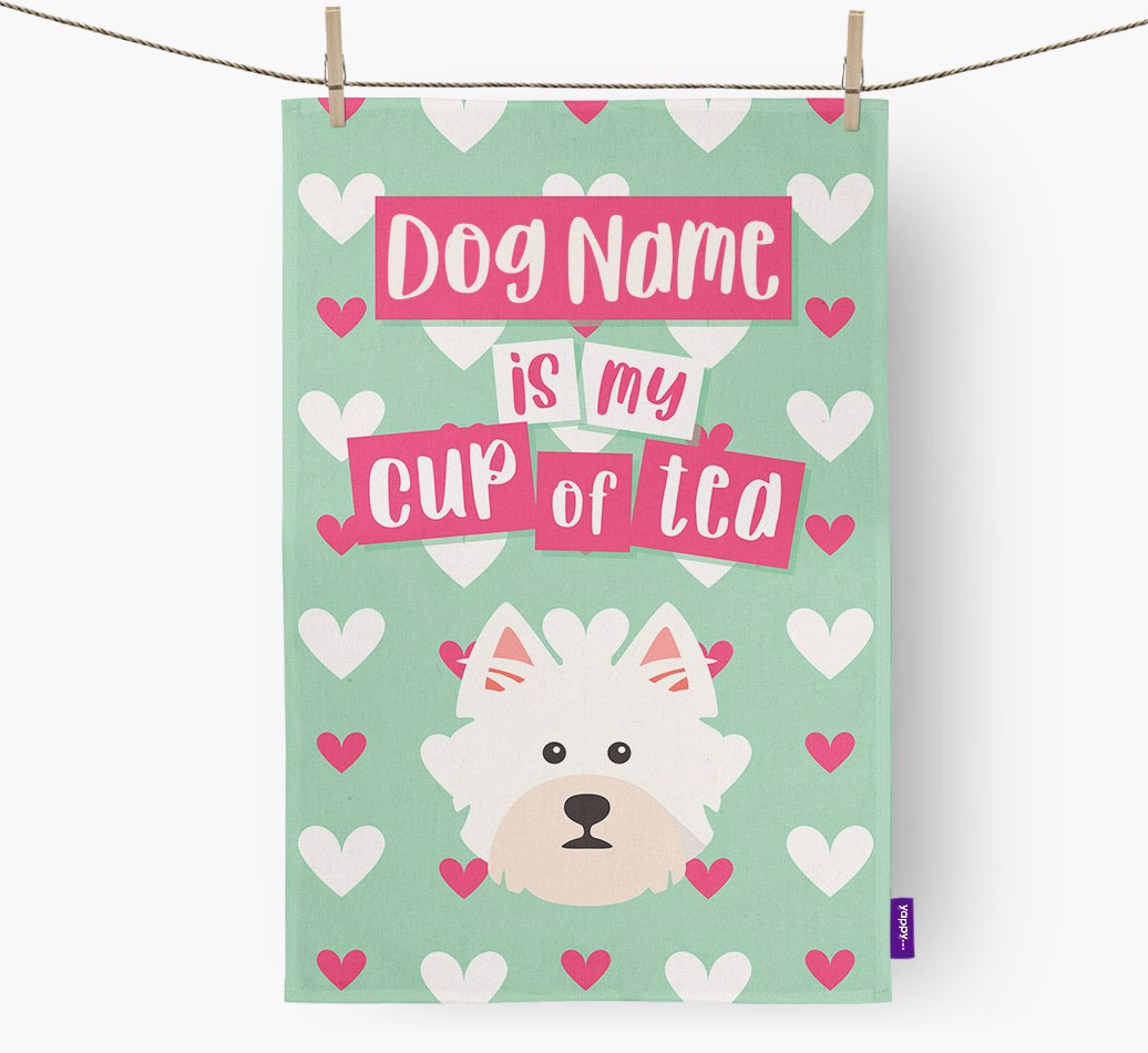 '{dogsName} Is My Cup Of Tea' Tea Towel with West Highland White Terrier Icon