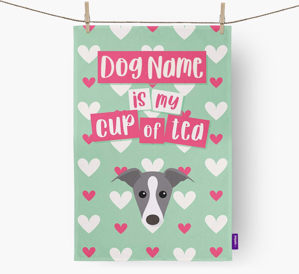 '{dogsName} Is My Cup Of Tea' Tea Towel with Whippet Icon