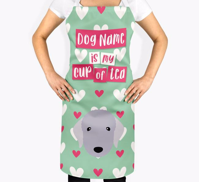 'Your Dog Is My Cup Of Tea' Apron with Bedlington Terrier Icon