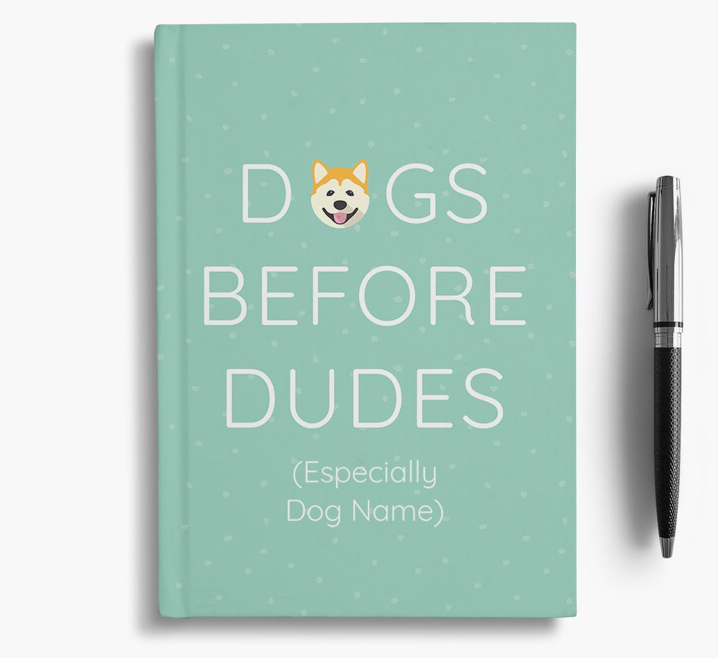 Personalised 'Dogs Before Dudes' Notebook with Akita Icon