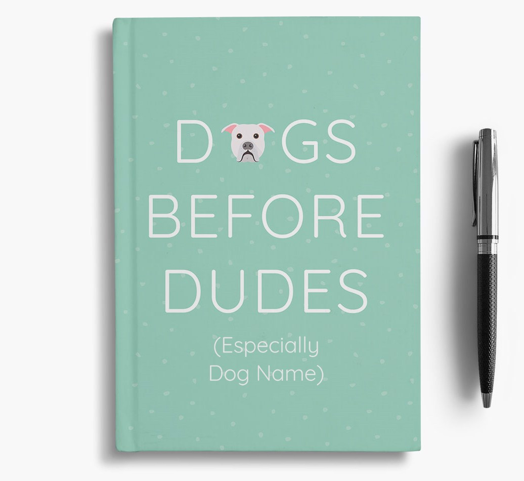 Personalised 'Dogs Before Dudes' Notebook with American Bulldog Icon