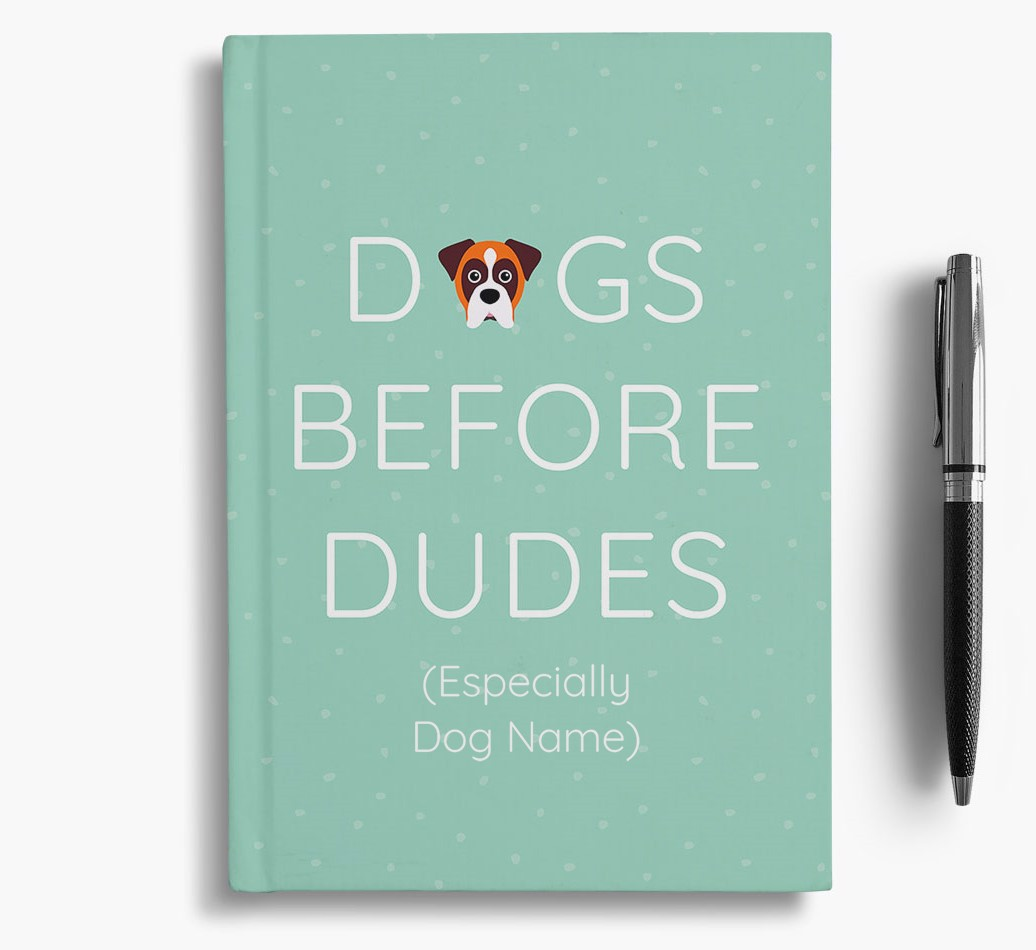 Personalised 'Dogs Before Dudes' Notebook with Boxer Icon