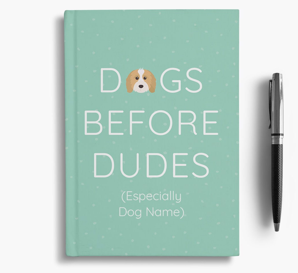 Personalised 'Dogs Before Dudes' Notebook with Cavapoo Icon