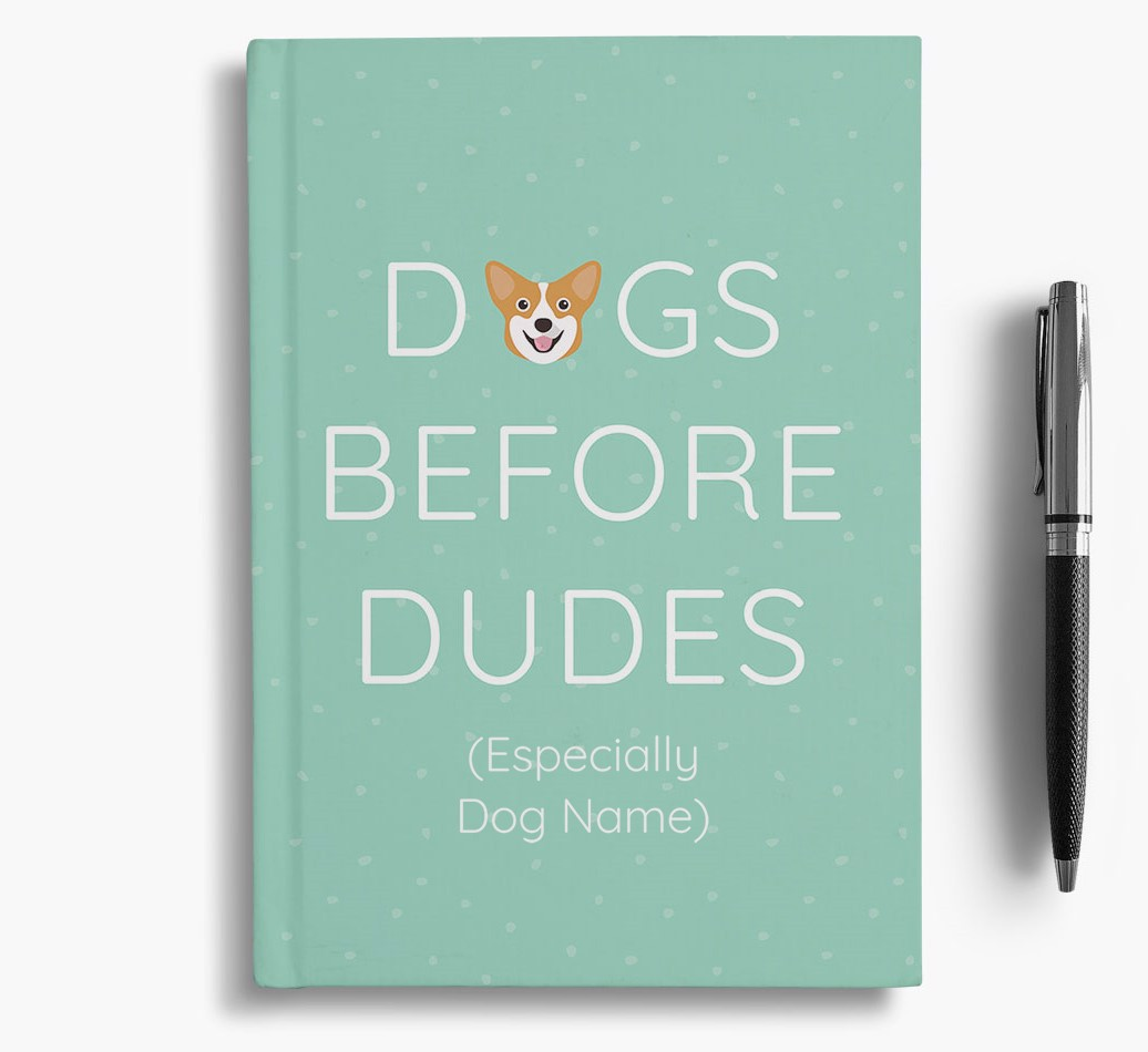 Personalised 'Dogs Before Dudes' Notebook with Corgi Icon