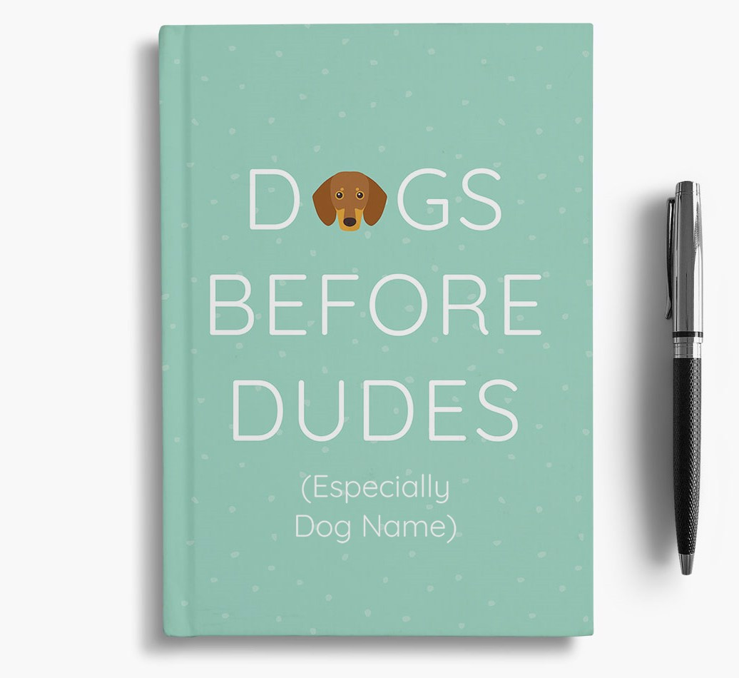 Personalised 'Dogs Before Dudes' Notebook with Dachshund Icon