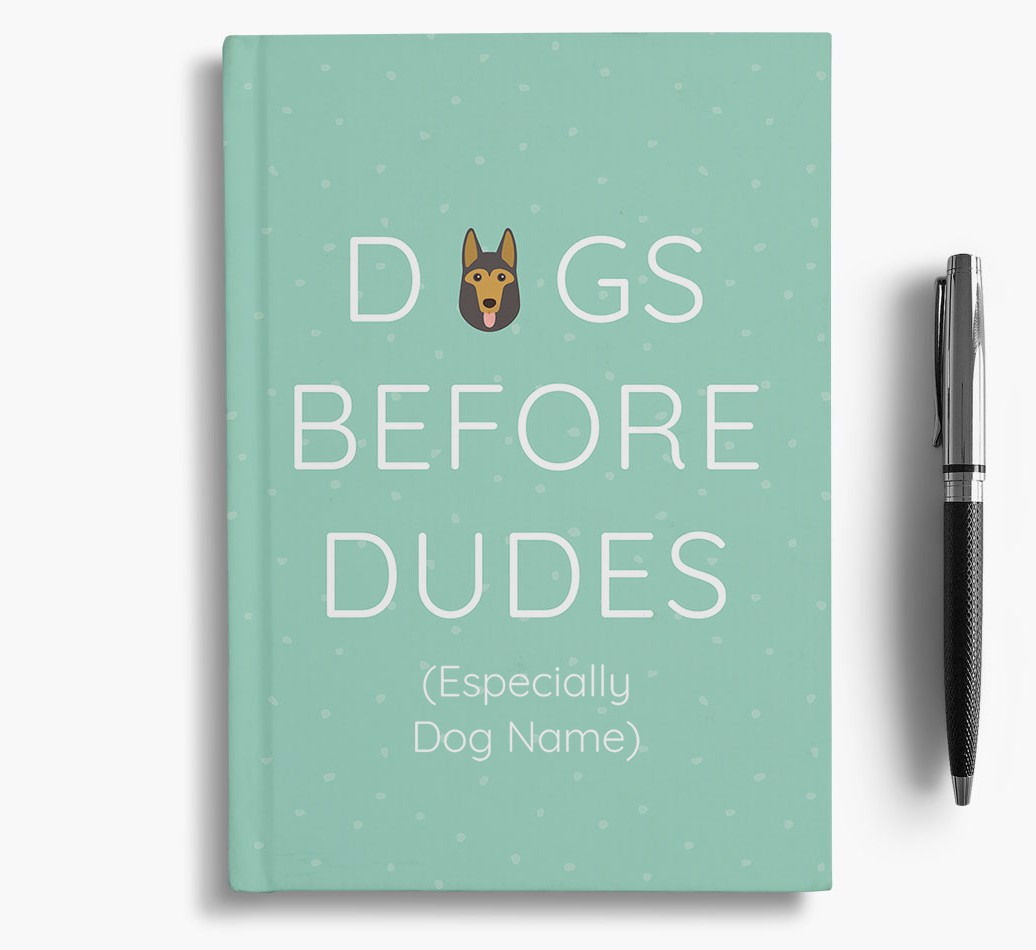 Personalised 'Dogs Before Dudes' Notebook with German Shepherd Icon