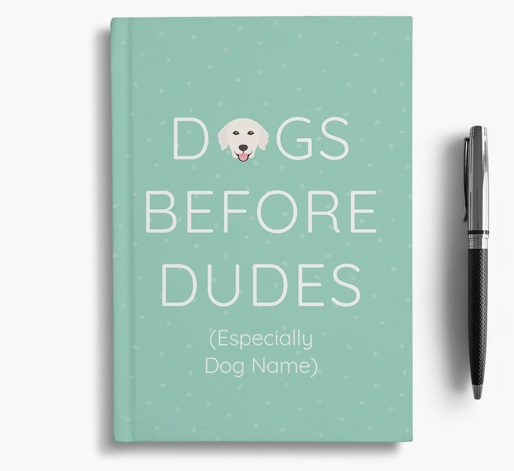 Personalised 'Dogs Before Dudes' Notebook with Golden Retriever Icon