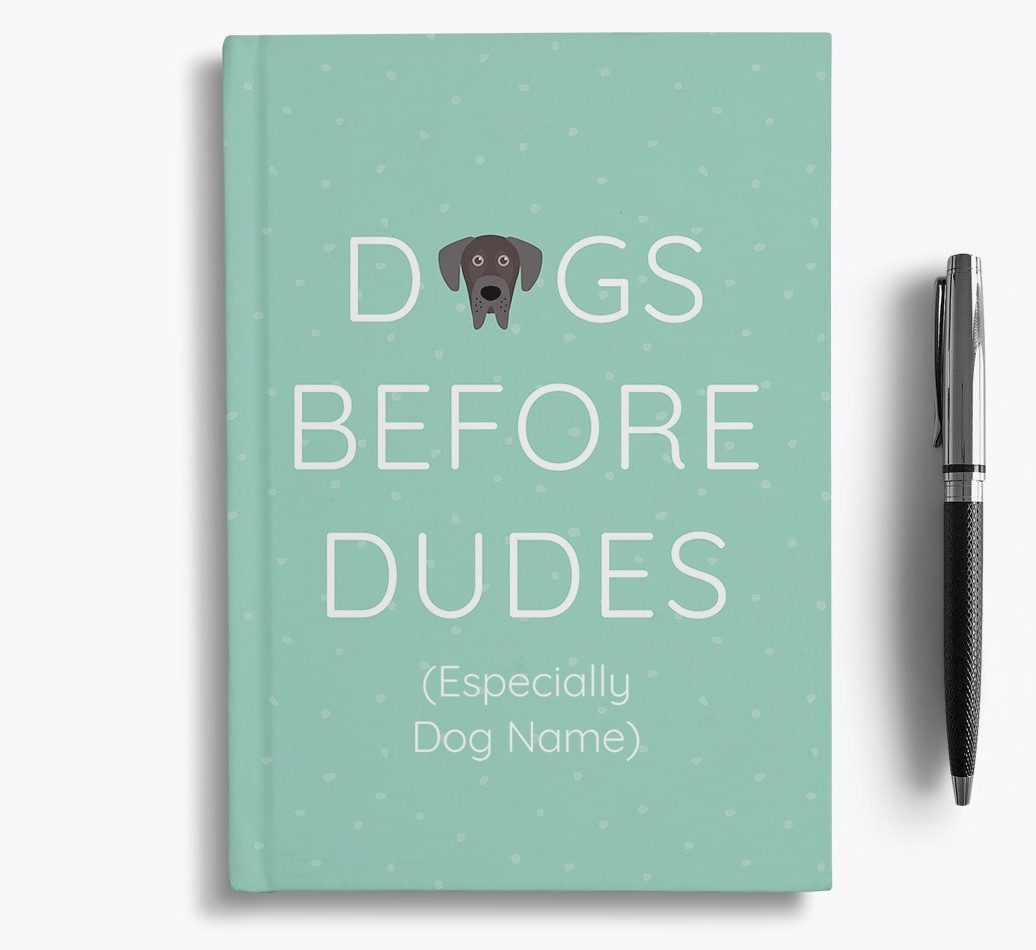 Personalised 'Dogs Before Dudes' Notebook with Great Dane Icon