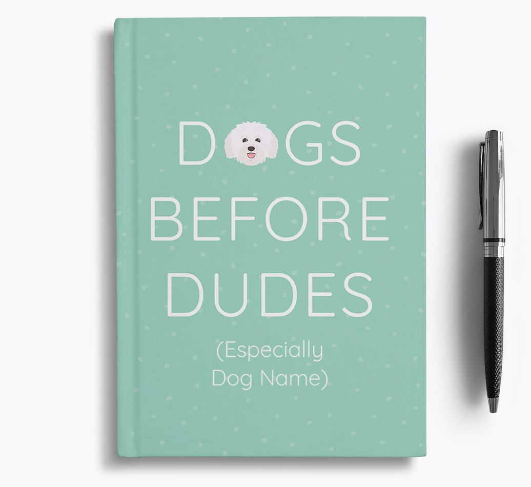 Personalised 'Dogs Before Dudes' Notebook with Havanese Icon