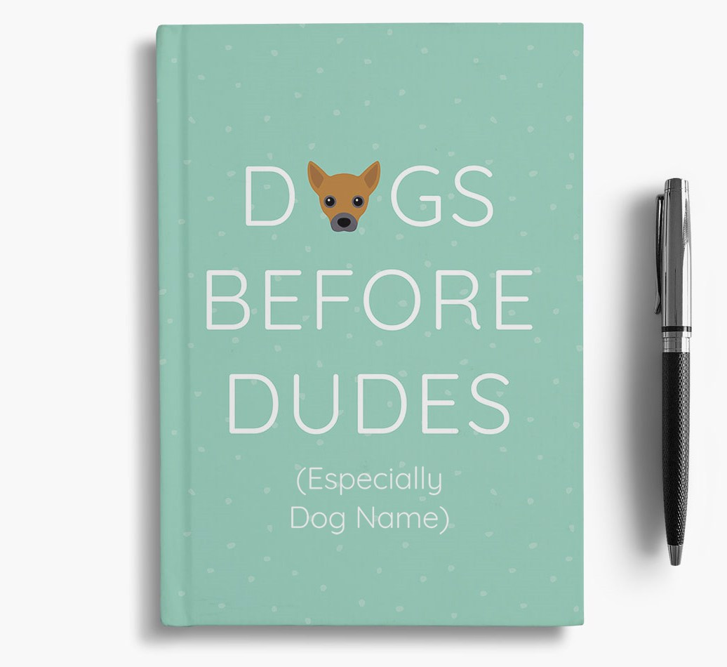 Personalised 'Dogs Before Dudes' Notebook with Jackahuahua Icon