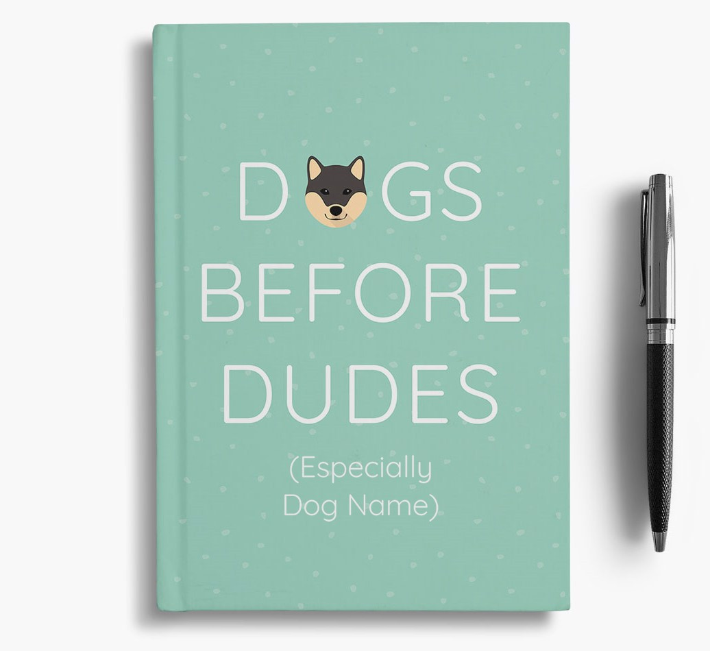 Personalised 'Dogs Before Dudes' Notebook with Japanese Shiba Icon