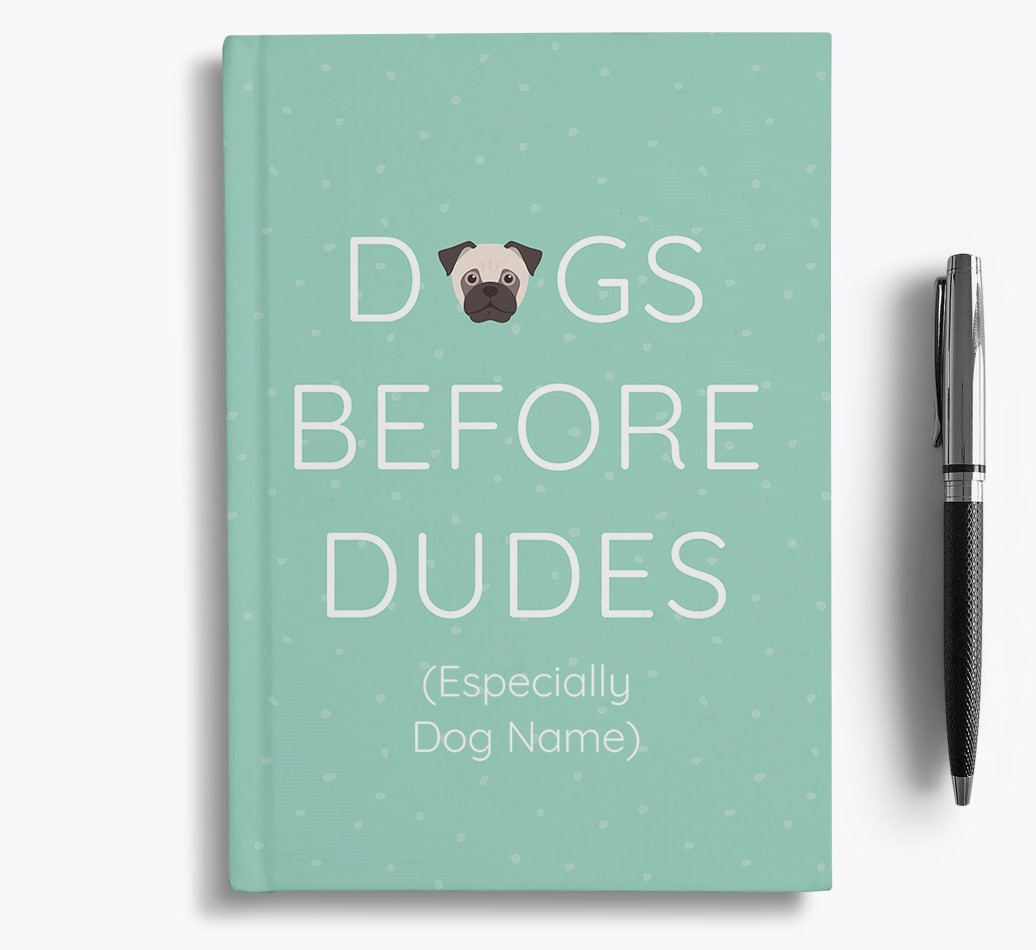 Personalised 'Dogs Before Dudes' Notebook with Jug Icon