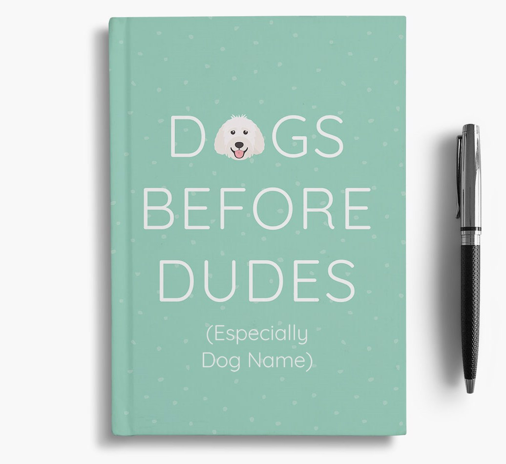Personalised 'Dogs Before Dudes' Notebook with Labradoodle Icon