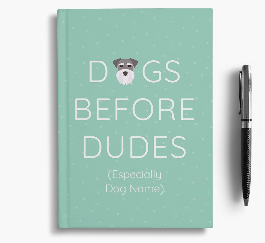 Personalised 'Dogs Before Dudes' Notebook with Miniature Schnauzer Icon