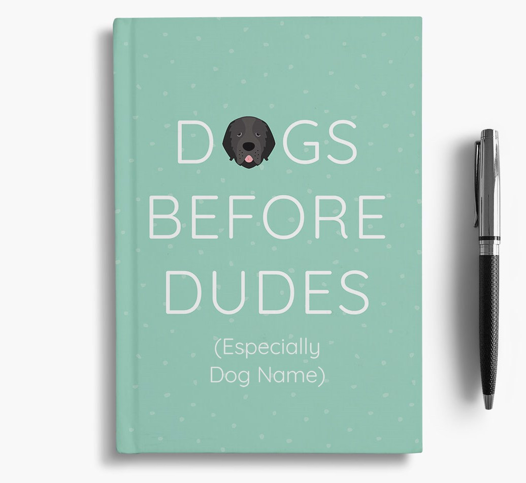 Personalised 'Dogs Before Dudes' Notebook with Newfoundland Icon
