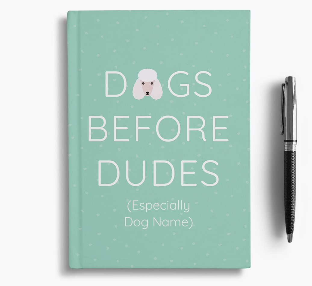 Personalised 'Dogs Before Dudes' Notebook with Poodle Icon
