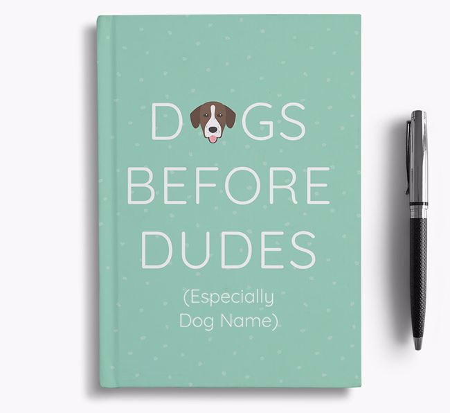 Personalised 'Dogs Before Dudes' Notebook with Springador Icon