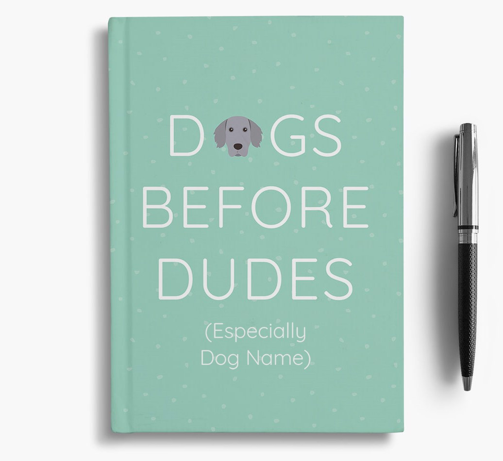 Personalised 'Dogs Before Dudes' Notebook with Weimaraner Icon