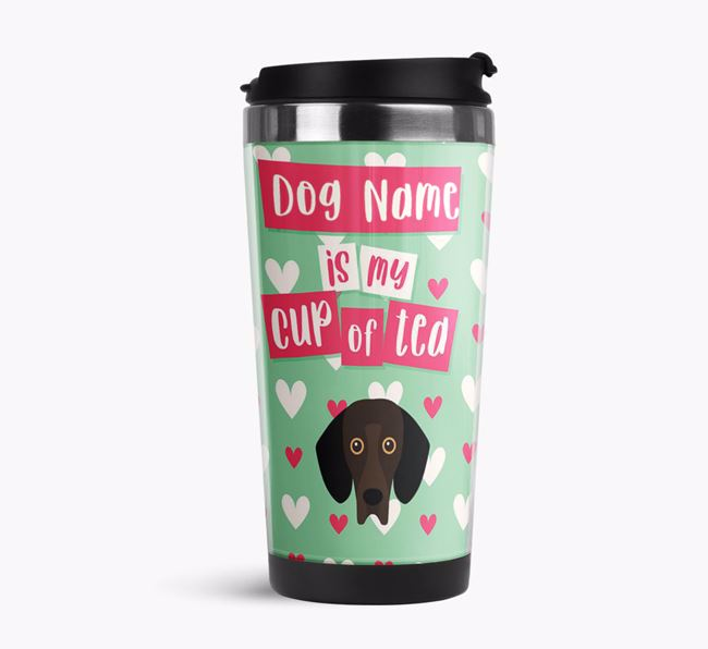 'Your Dog is my cup of tea' Travel Flask with Bassador Icon