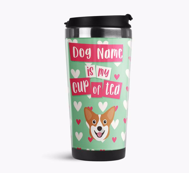 'Your Dog is my cup of tea' Travel Flask with Corgi Icon