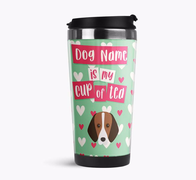'Your Dog is my cup of tea' Travel Flask with Foxhound Icon