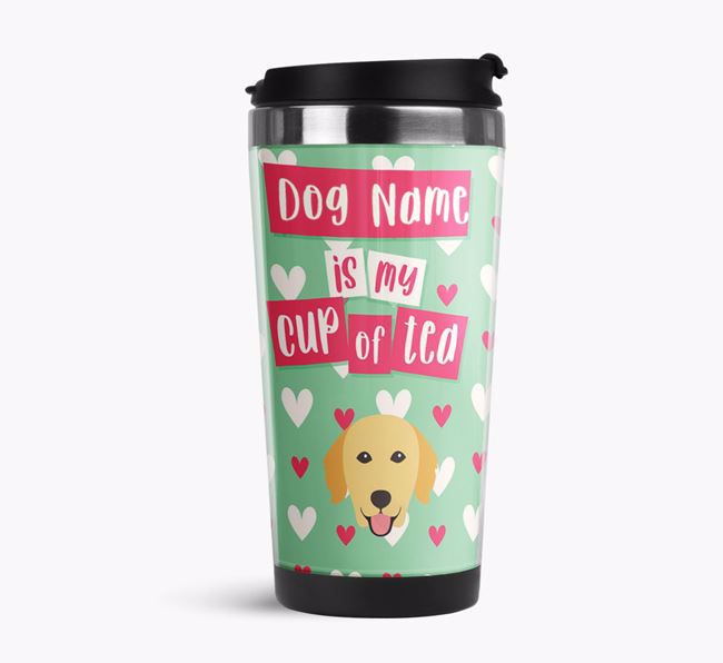 'Your Dog is my cup of tea' Travel Flask with Golden Retriever Icon