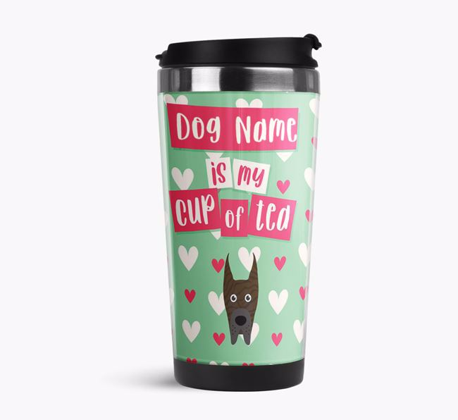 'Your Dog is my cup of tea' Travel Flask with Great Dane Icon