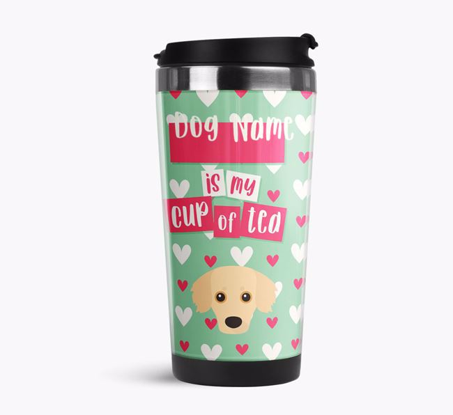 'Your Dog is my cup of tea' Travel Flask with Kokoni Icon