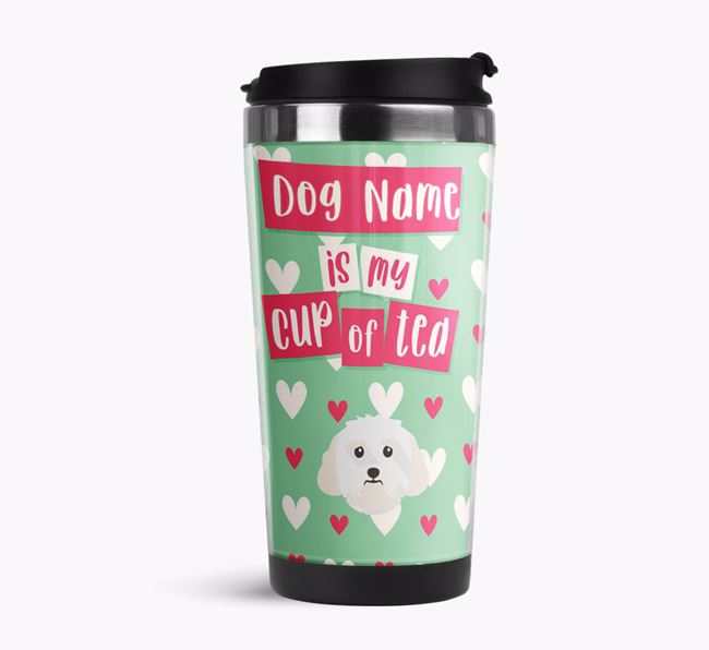 'Your Dog is my cup of tea' Travel Flask with Lhasa Apso Icon