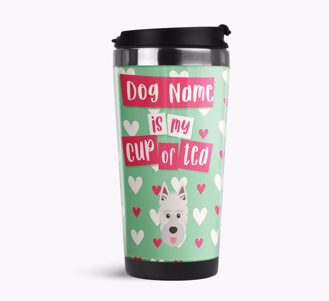 'Your Dog is my cup of tea' Travel Flask with Picardy Sheepdog Icon