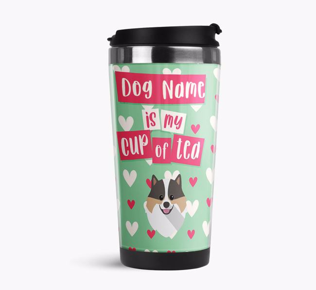 'Your Dog is my cup of tea' Travel Flask with Pomeranian Icon